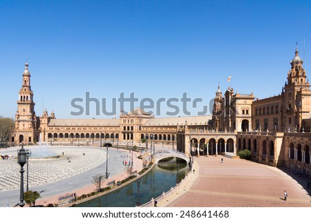 View on Palacio Espanol on Plaza De Espana, Seville. - stock photo