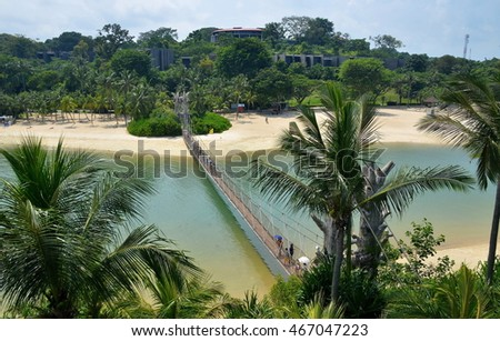 View on Palawan beach and suspension bridge, Singapore, Sentosa island