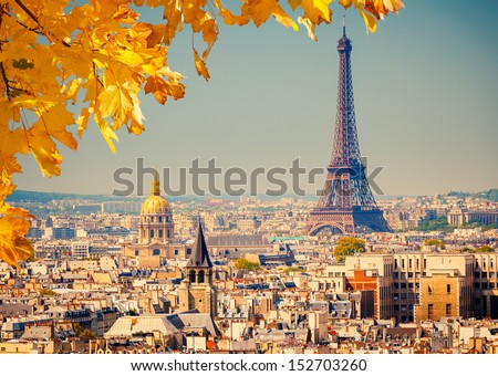 View on Paris and Eiffel tower - stock photo