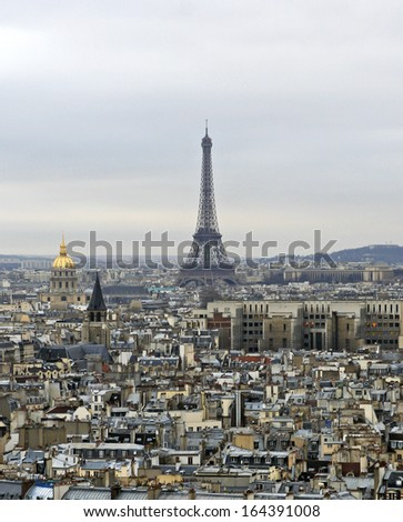 View on Paris and Eiffel tower