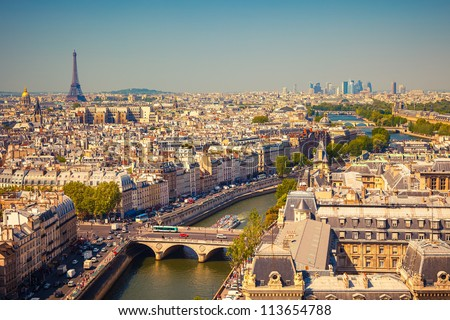View on Paris form Notre Dame cathedral - stock photo