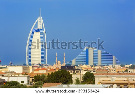 View on part of Dubai city and luxury hotels in the backround,Dubai,United Arab Emirates - stock photo