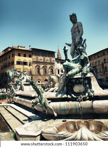 View on Piazza della Signoria and Fountain of Neptune in Florence - Italy - stock photo