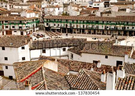 """View on """"Plaza Mayor"""" of historic small town Chinchon near Madrid - stock photo"""