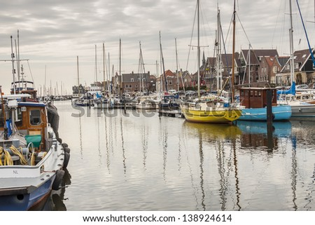 View on port Urk -  Netherlands, town in Flevoland. - stock photo