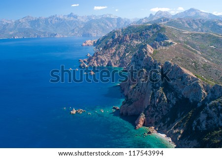 View on Porto bay from Capo Rosso, Corsica - stock photo