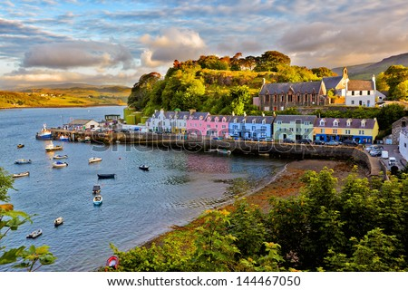 view on Portree before sunset, Isle of Skye, Scotland - stock photo