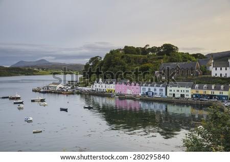 view on Portree before sunset, Isle of Skye, Scotland - stock photo