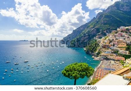 view on Positano on Amalfi coast, Campania, Italy - stock photo