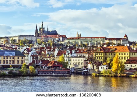 view on Prague castle from Charles Bridge - stock photo
