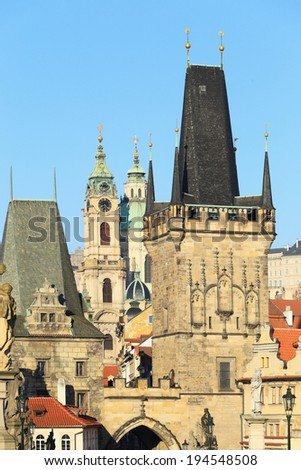 View on Prague St. Nicholas' Cathedral and Bridge Tower from Charles Bridge, Czech Republic