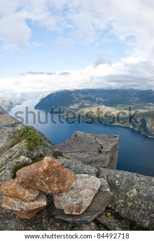 View on preikestulen pulpit rock - stock photo