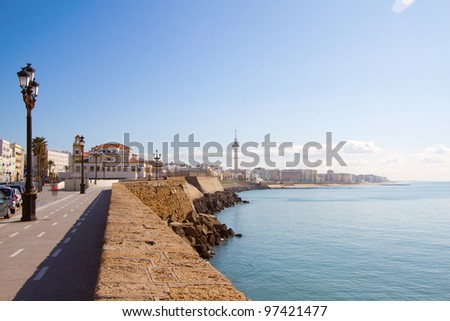 View on promenade by the sea in Cadiz, Spain