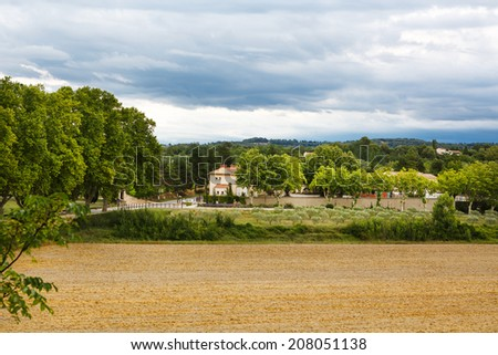 View on Provence village roof and landscape - stock photo