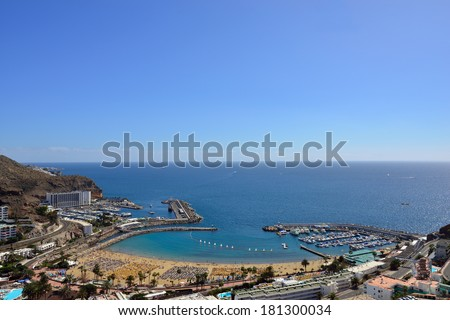 View on Puerto Rico public beach from above. Gran Canaria, Spain - stock photo