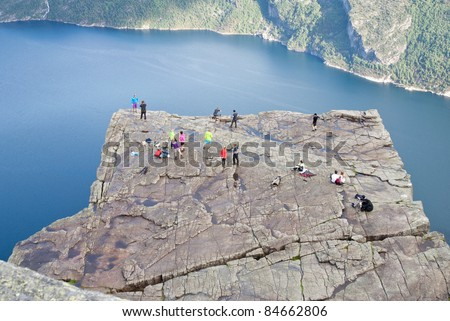 view on pulpit rock in Norway - stock photo