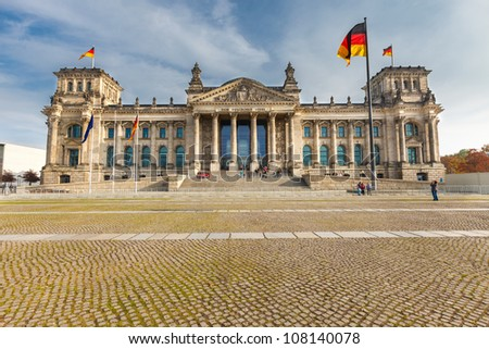 View on Reichstag in Berlin - stock photo