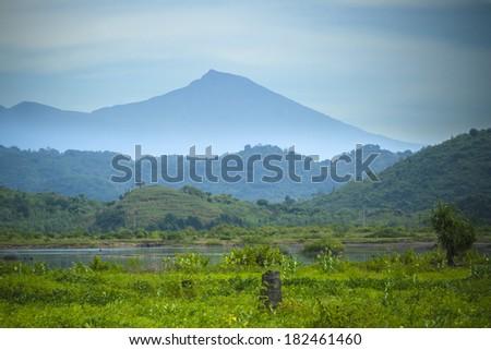 View on Rinjani volcano in Lombok, Indonesia - stock photo