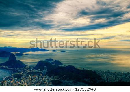View on Rio de Janeiro from Corcovado - stock photo