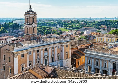 View on Rome from the balcony of the national monument a Vittorio Emanuele II, the museum complex on the Piazza Venezia in Rome, Italy