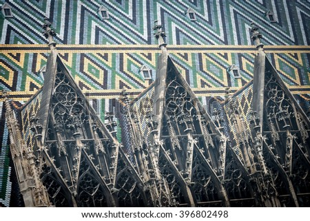 View on roof of old St. Stephen cathedral. Scene from Vienna, Austria. Europe travel. Details of architecture. - stock photo