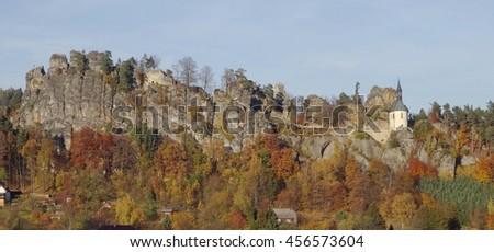 View on ruin Pantheon, Bohemian Paradise, Mala skala, Czech Republic - stock photo