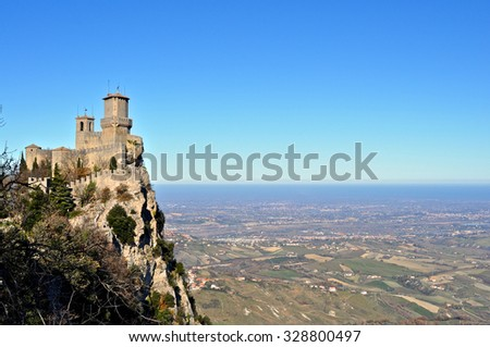 View on San Marino castle and sea with clear and blue sky during winter