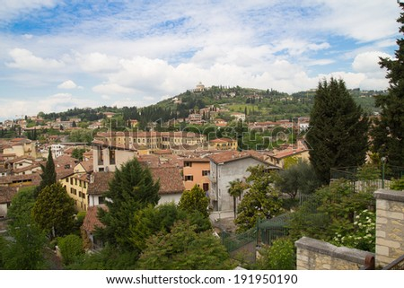View on Sanctuary of the Madonna of Lourdes in Verona, Italy - stock photo
