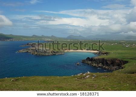 view on scenic landscape in Dingle Ireland - stock photo