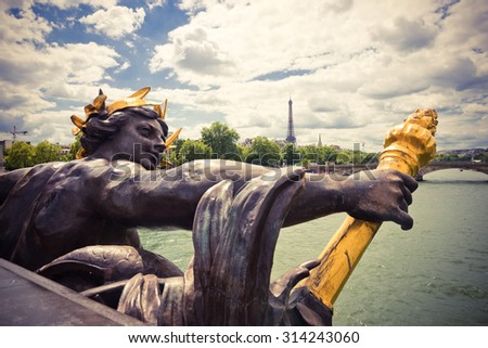 View on Seine River and Eiffel Tower from Alexander III bridge (pont Alexandre III) in Paris, France.. Instagram style filtred image - stock photo