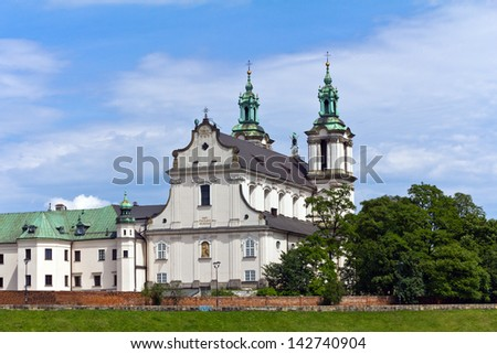 view on skalka church  in cracow in  poland