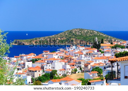 View on Skiathos town and Tsugriaki islet from above, Skiathos island, Sporades archipelago, Greece
