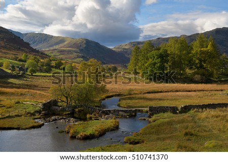 View on Slaters bridge close to Little Langdale in the Lake District, UK