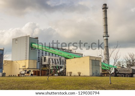 View on small city  heating plant in Raciborz - Poland. - stock photo