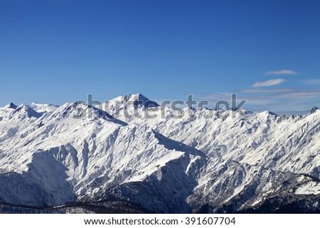 View on snowy mountains in sunny day. Caucasus Mountains. Svaneti region of Georgia. - stock photo