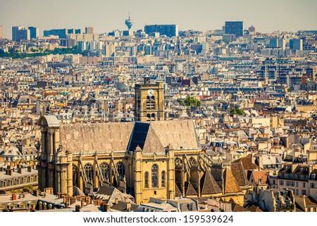 View on St-Gervais-et-St-Protais church, Paris - stock photo