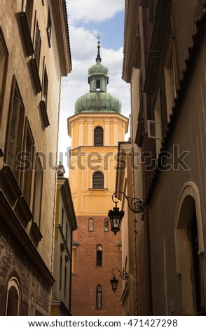 View on St. Martin's church bell tower  in Warsaw Old town.
