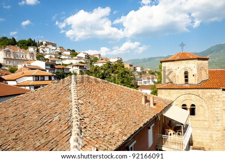 View on St. Sofia church and Ohrid old Unesco Town - Macedonia. - stock photo