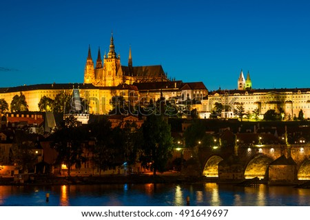 View on St.Vitus cathedral in Prague Castle at night, Czech Republic