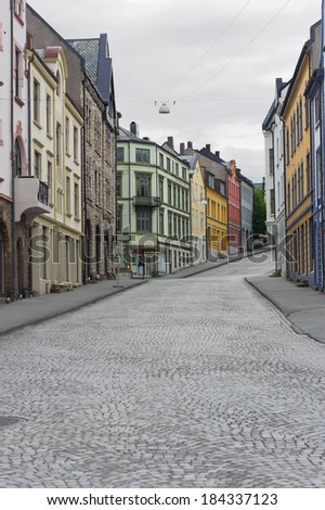 view on streets and houses at city of Alesund , Norway, vertical