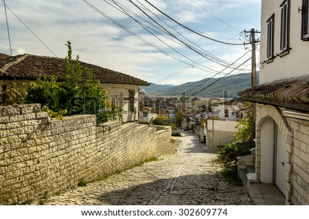 View on streets of old UNESCO city Berati located in Fier, Albana