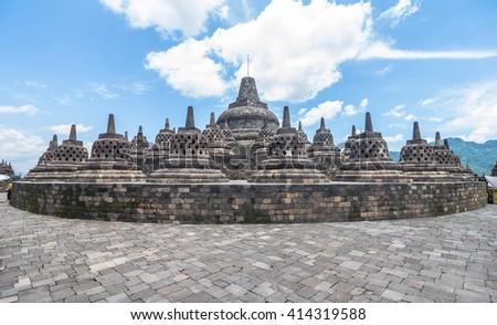 View on stupas in Borobudur temple - stock photo