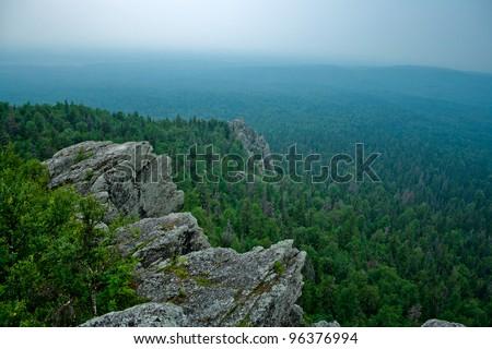 View on taiga from Poliud mountain. Perm Krai. Russia. - stock photo