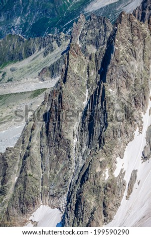 View on the Alps from the Aiguille du Midi , Chamonix. - stock photo