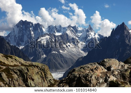 View on the Alps from the White Lake, Chamonix. - stock photo