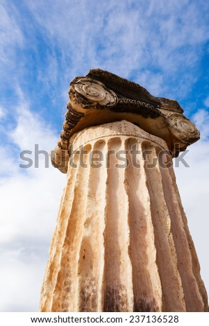 View on the ancient Greek column in Delphi - stock photo