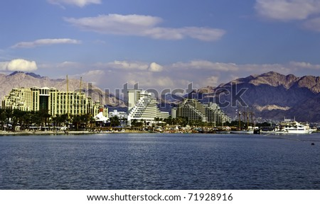 View on the Aqaba gulf and resort hotels near Eilat city, Israel - stock photo
