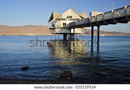 View on the Aqaba gulf from Eilat - a famous resort and recreational city on the Red Sea, Israel - stock photo