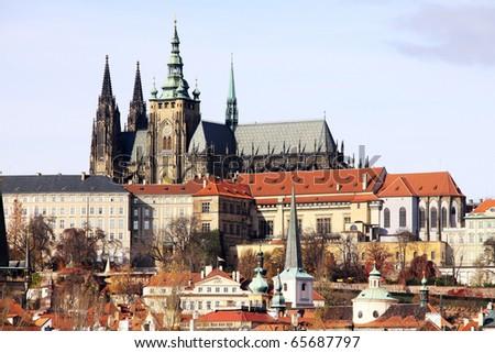View on the autumn Prague gothic Castle above River Vltava - stock photo