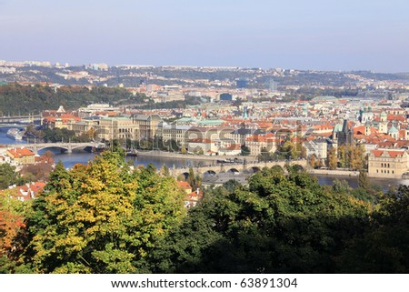 View on the autumn Prague historical city of Czech